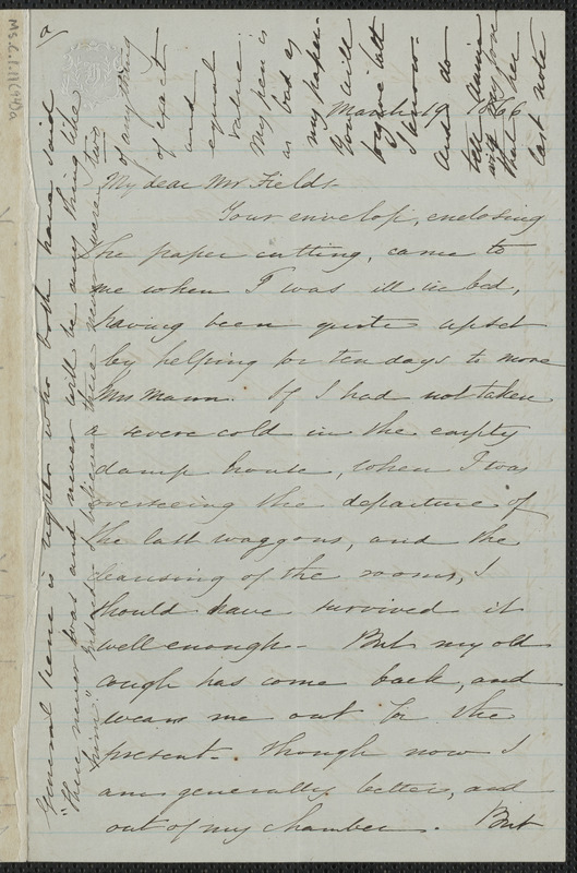 Sophia Hawthorne autograph letter signed to James Thomas Fields, [Concord], 19 March 1866
