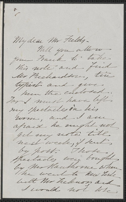 Sophia Hawthorne autograph note signed to James Thomas Fields, [Concord], 14 April 1866