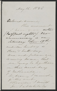 Sophia Hawthorne autograph letter signed to Annie Adams Fields, [Concord], 16 May 1866