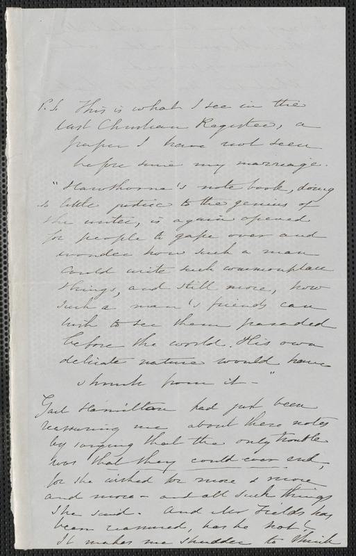 Sophia Hawthorne autograph manuscript to [Annie Adams Fields, Concord], approximately May 1866