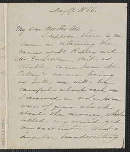 Sophia Hawthorne autograph letter signed to James Thomas Fields, [Concord], 17 May 1866
