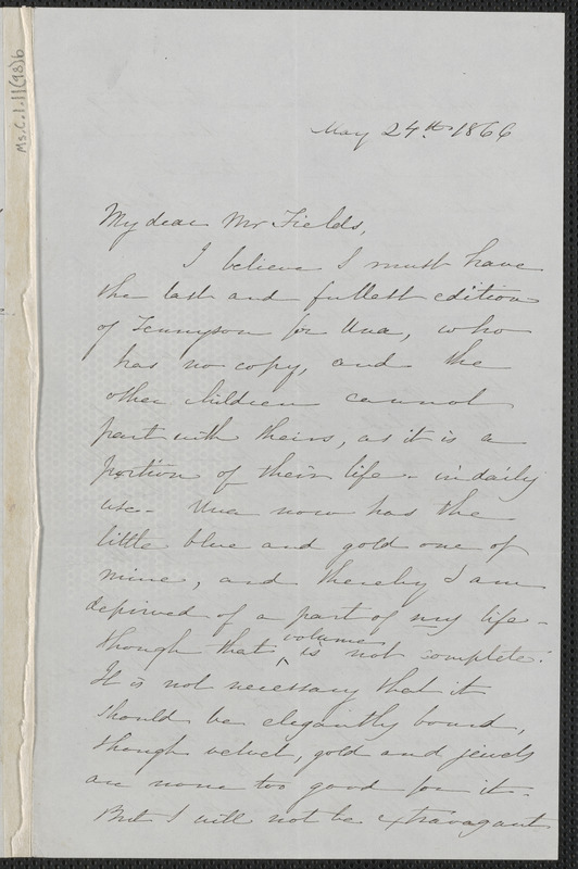 Sophia Hawthorne autograph letter signed to James Thomas Fields, [Concord], 24 May 1866