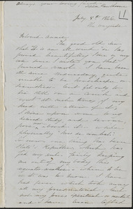 Sophia Hawthorne autograph letter signed to Annie Adams Fields, [The Wayside Concord], 8 July 1866