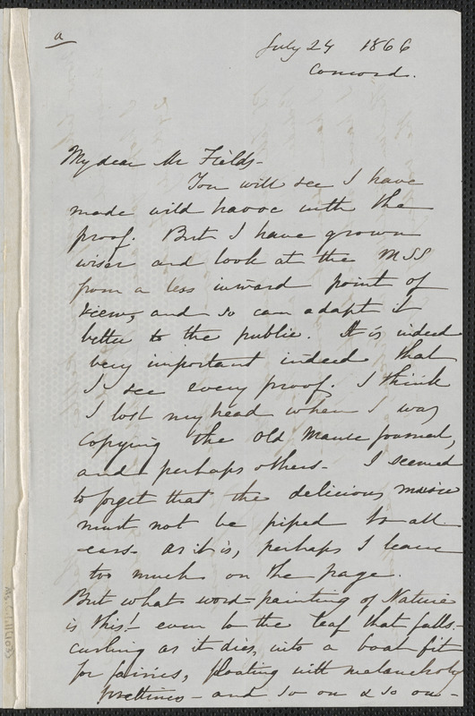 Sophia Hawthorne autograph letter signed to James Thomas Fields, [Concord], 24 July 1866