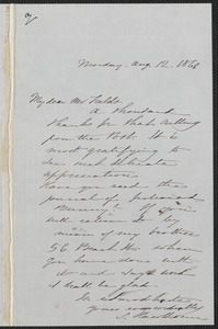 Sophia Hawthorne autograph note signed to James Thomas Fields, [Concord], 12 August 1866
