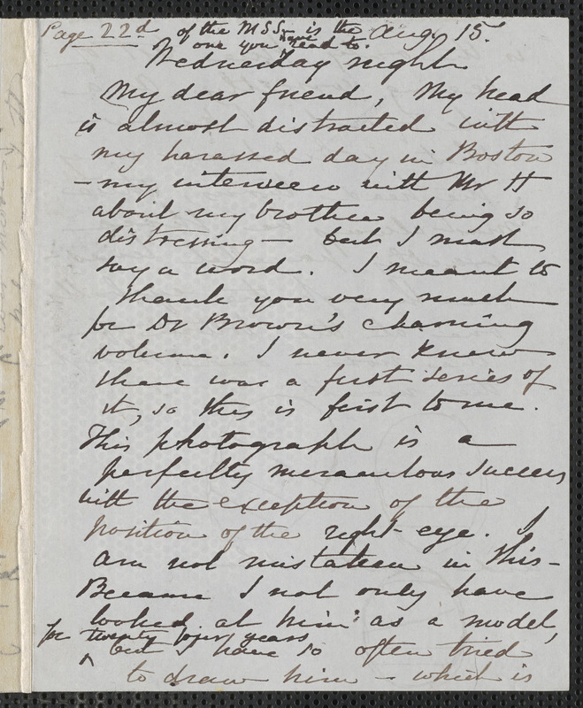 Sophia Hawthorne autograph letter signed to [James Thomas Fields, Concord], 15 August [1866]