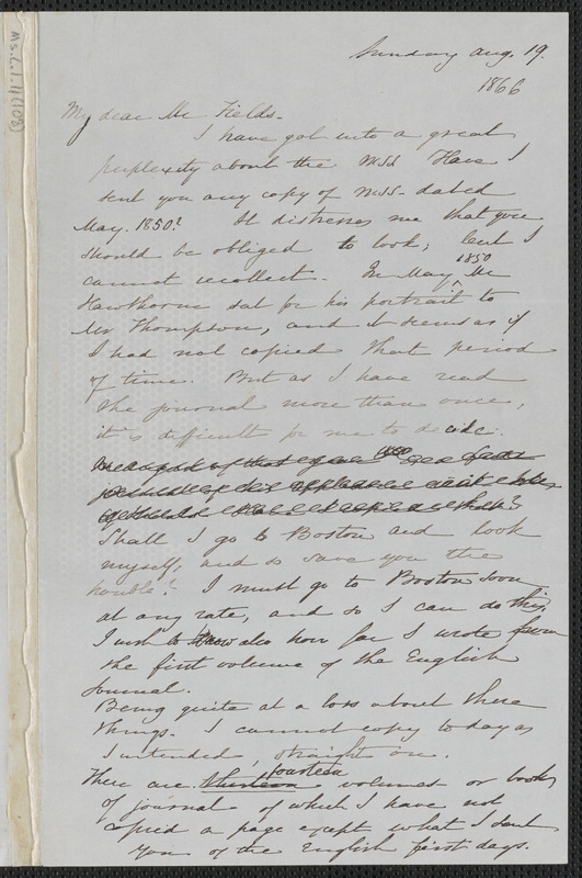 Sophia Hawthorne autograph letter signed to James Thomas Fields, [Concord], 19 August 1866