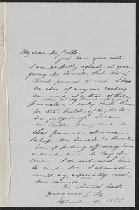 Sophia Hawthorne autograph note signed to James Thomas Fields. [Concord], 19 September 1866