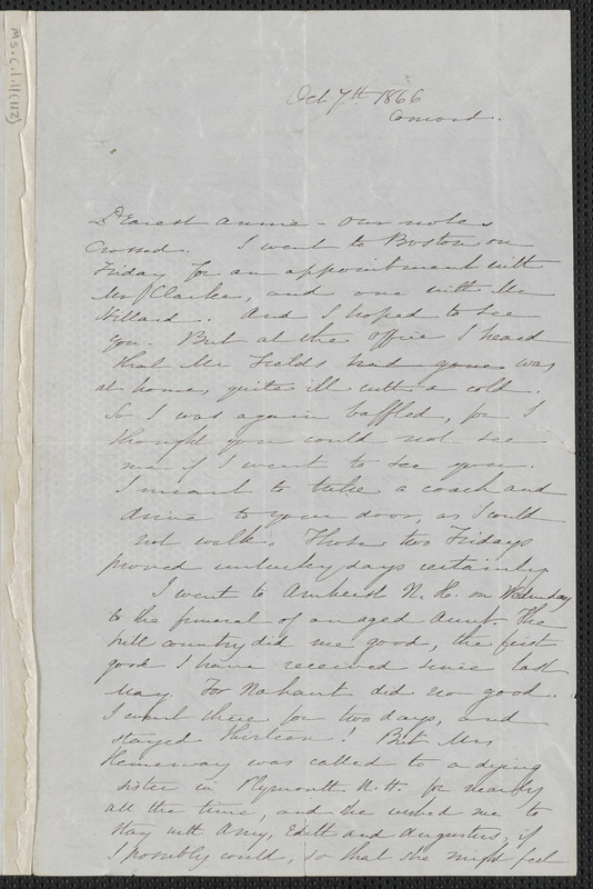Sophia Hawthorne autograph letter signed to Annie Adams Fields, [Concord], 7 October 1866
