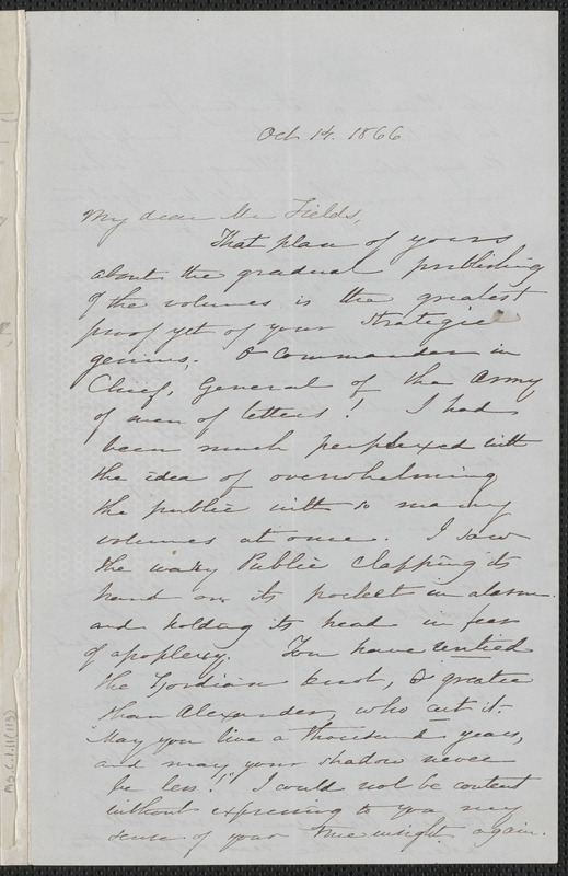 Sophia Hawthorne autograph letter signed to James Thomas Fields, [Concord], 14 October 1866