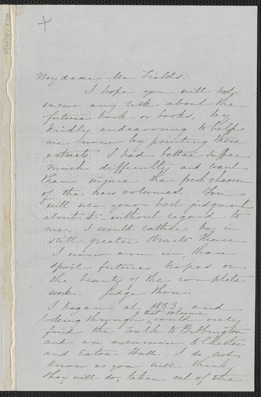 Sophia Hawthorne autograph letter signed to James Thomas Fields, [Concord], 9 December 1866