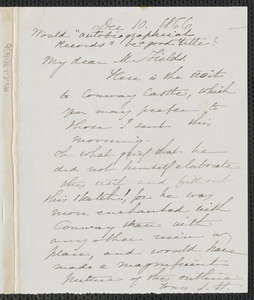 Sophia Hawthorne autograph note signed to James Thomas Fields, [Concord], 10 December 1866