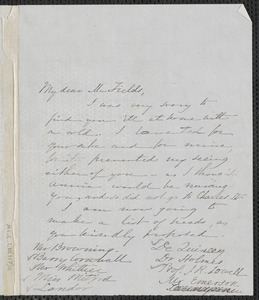 Sophia Hawthorne autograph letter signed to James Thomas Fields, [Concord], approximately December 1866
