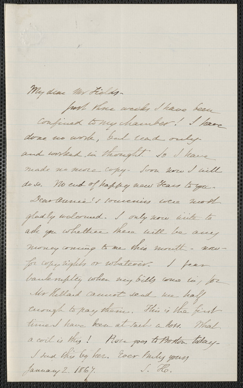 Sophia Hawthorne autograph letter signed to James Thomas Fields, [Concord], 2 January 1867