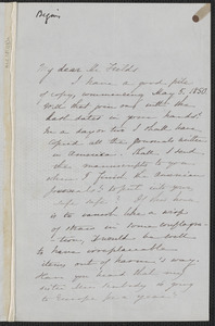 Sophia Hawthorne autograph letter signed to James Thomas Fields, [Concord], 25 February 1867