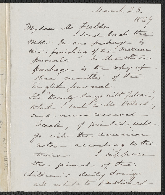 Sophia Hawthorne autograph letter signed to James Thomas Fields, [Concord], 23 March 1867