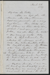 Sophia Hawthorne autograph letter signed to James Thomas Fields, [Concord], 28 March 1867