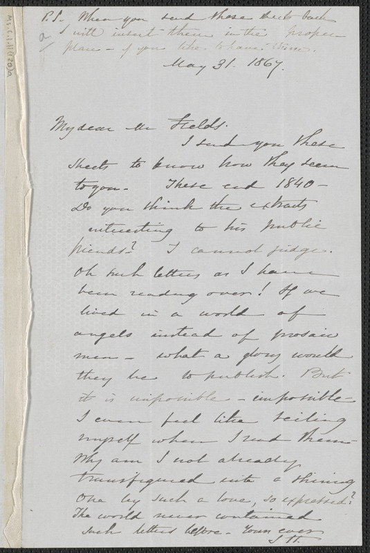 Sophia Hawthorne autograph note signed to James Thomas Fields, [Concord], 31 May 1867