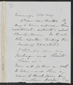 Sophia Hawthorne autograph note signed to James Thomas Fields, [Concord], 31 May [1867]