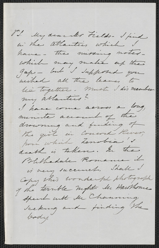 Sophia Hawthorne autograph manuscript to James Thomas Fields, [Concord], approximately May 1867