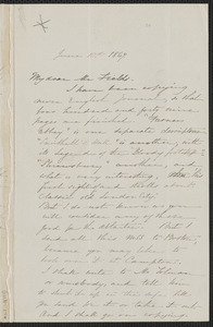 Sophia Hawthorne autograph letter signed to James Thomas Fields, [Concord], 10 June 1867