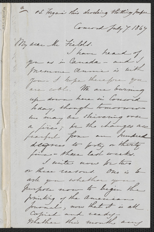 Sophia Hawthorne autograph letter signed to James Thomas Fields, [Concord], 7 July 1867