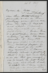 Sophia Hawthorne autograph letter signed to James Thomas Fields, [Concord], 8 October 1867