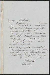 Sophia Hawthorne autograph note signed to James Thomas Fields, [Concord], 9 October 1867