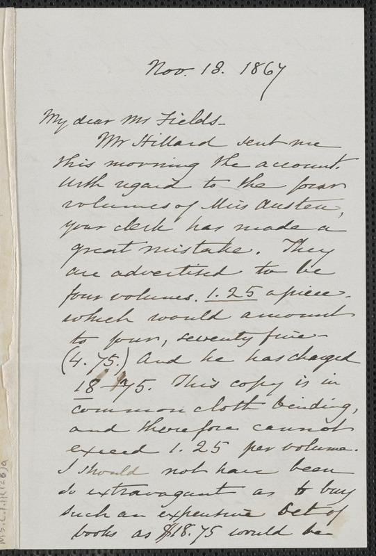 Sophia Hawthorne autograph letter signed to James Thomas Fields, [Concord], 18 November 1867