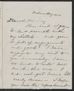 Sophia Hawthorne autograph note signed to Annie Adams Fields, [Concord, 4 December 1867]