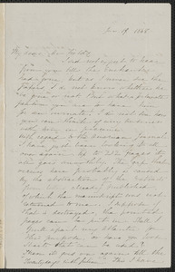 Sophia Hawthorne autograph letter signed to James Thomas Fields, [Concord], 19 January 1868