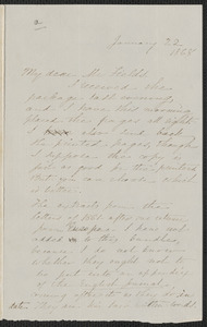 Sophia Hawthorne autograph letter signed to James Thomas Fileds, [Concord], 22 January 1868