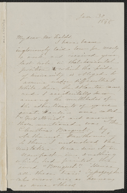 Sophia Hawthorne autograph letter signed to James Thomas Fields, [Concord], 30 January 1868