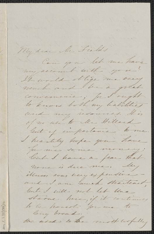 Sophia Hawthorne autograph letter signed to James Thomas Fields, [Concord], 2 May 1868
