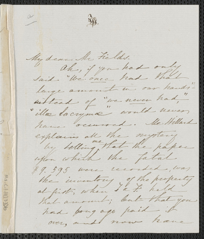 Sophia Hawthorne autograph letter signed to James Thomas Fields, [Concord], 7 June 1868