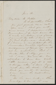 Sophia Hawthorne autograph letter signed to James Thomas Fields, [Concord], 12 June 1868