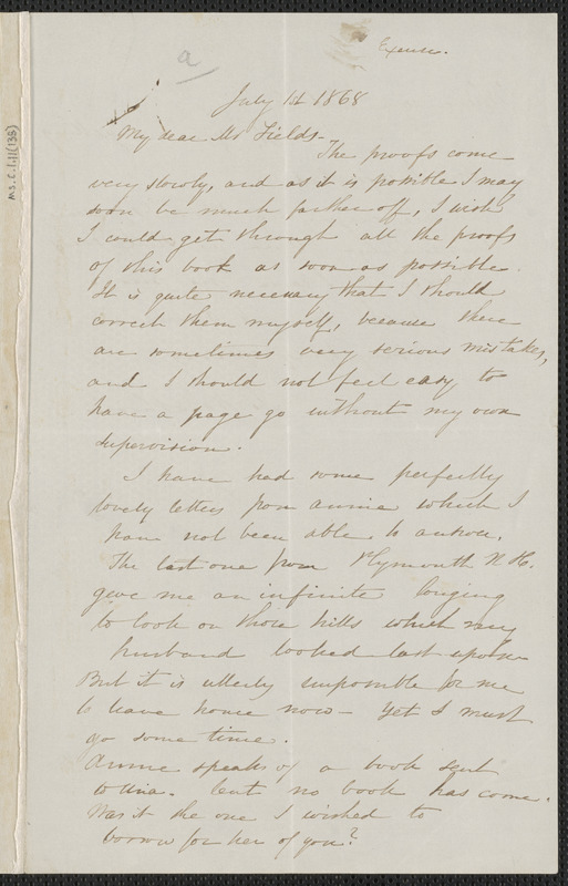 Sophia Hawthorne autograph letter signed to James Thomas Fields, [Concord], 1 July 1868
