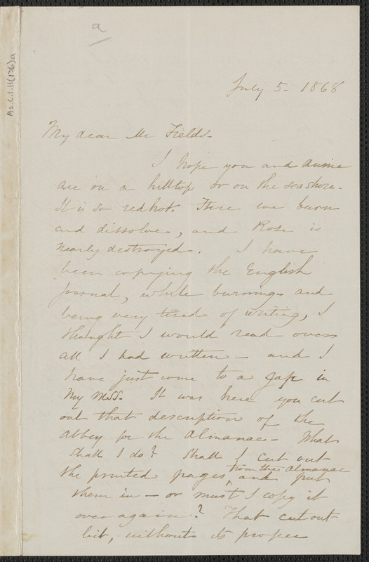 Sophia Hawthorne autograph letter signed to James Thomas Fields, [Concord], 5 July 1868