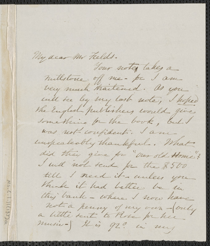 Sophia Hawthorne autograph note signed to James Thomas Fields, [Concord], 15 July 1868