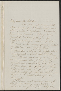 Sophia Hawthorne autograph letter signed to James Thomas Fields, [Concord], 16 July 1868