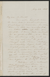 Sophia Hawthorne autograph letter signed to James Thomas Fields, [Concord], 28 July 1868