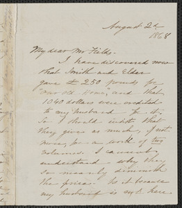 Sophia Hawthorne autograph letter signed James Thomas Fields, [Concord], 2 August 1868