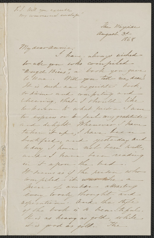 Sophia Hawthorne autograph letter signed to Annie Adams Fields, The Wayside [Concord], 3 August 1868