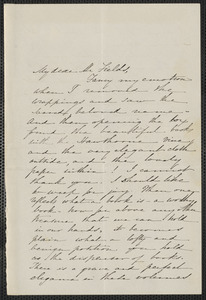 Sophia Hawthorne autograph letter to James Thomas Fields, [Concord, 1868?]