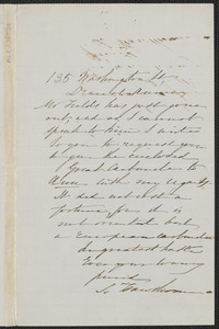 Sophia Hawthorne autograph letter signed to Annie Adams Fields, 135 Washington St. [Boston]