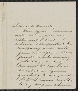 Sophia Hawthorne autograph letter signed to Annie Adams Fields, [Concord]