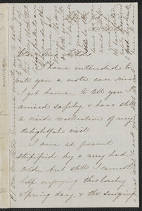 Una Hawthorne autograph letter signed to Annie Adams Fields, Concord, 9 April 1862