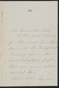 Una Hawthorne autograph letter signed to James Thomas Fields & Annie Adams Fields, [Concord], 5 March 1863