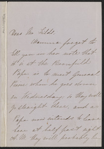 Una Hawthorne autograph letter signed to James Thomas Fields, [Concord], 8 May [1864]