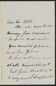 Una Hawthorne autograph letter signed to James Thomas Fields, [Concord, 13 May 1864]